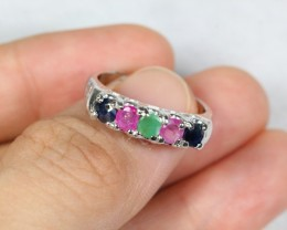 19.22cts Multiple Stone Sterling 925 Silver Ring US 6.25