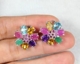 45.78cts Multiple Gemstone Sterling 925 Silver Earrings