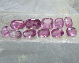 Unheated Natural included ~ mixed sizes~ pink ruby parcels 11 pcs 14.55cts