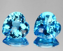~PAIR~ 9.20 Cts Natural Swiss Blue Topaz Heart Checkerboard Cut Brazil