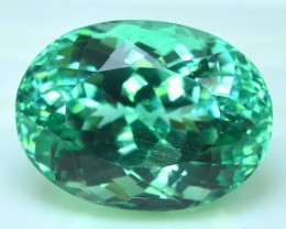 No Reserve 18.35 cts Oal Cut Lush Green Spodumene Gemstone From Afghanistan