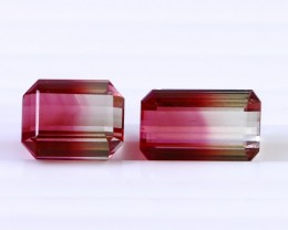 2Pcs 11.85 Ct Natural - Unheated Bi Color Tourmaline Gemstone