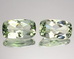 ~PAIR~ 5.65 Cts Natural Green Amethyst/Prasiolite Cushion Brazil