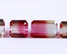 4 Pcs 14.70 Ct Natural - Unheated Bi Color Tourmaline Gemstone