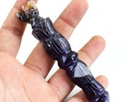 Genuine 286.00 Cts Bi-Color Amethyst Carved Angel Point Stick
