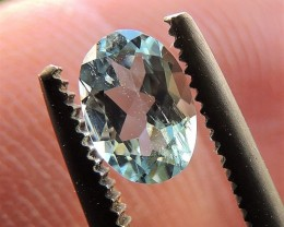 0.43ct OVAL FACETED AQUAMARINE GEM FROM BRAZIL SKY BLUE