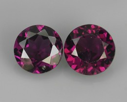 1.95 CTS LOVELY  NATURAL PURPLE PINK RHODOLITE 6 MM ROUND GARNET  2 PCS