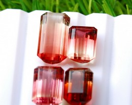 4 Pcs 20.40 Ct Natural - Unheated Bi Color Tourmaline Gemstone