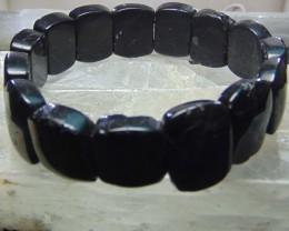 Bracelet  black tourmaline  deep black beads  216.15 cts