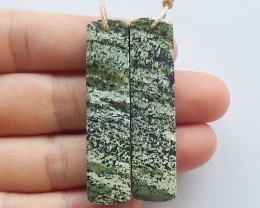 52.5ct Natural green zabra earring beads customized jewelry  (18091485)