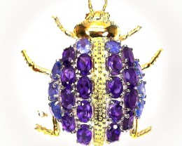 Large Lady Bug Amethyst Tanzanite 14kt Gold over Sterling Silver Brooch Orn