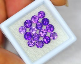 3.94Ct Purple Amethyst Round Cut Mix Size Lot LZ1358