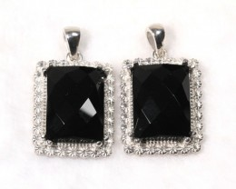 117.7cts Two Set Black Onyx 925 Sterling Silver Pendant