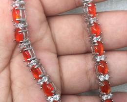 (B1) Fantastic Nat 69.5tcw. Top Rich Orange Fire Opal And CZ Bracelet