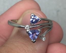 (B16) Fantastic $1100 Nat 0.75ct Tanzanite &Diamond Ring 10K WG