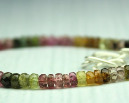 23 Crt Natural multi tourmaline Rondelle Beads bracelet