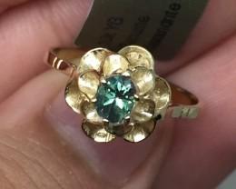 (B14) Certified $1450 Nat 0.38cts. AAA Alexandrite Ring 10K YG
