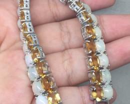 (B18) Amazing Nat 125.6tcw. Fire Opal & Citrine Bracelet Untreated