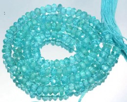 40.18 Cts Natural Apatite Beads Paraiba Blue Green Roundel 35 cm - 4.1 x 3.
