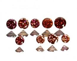 0.18 Cts Natural Brownish Pink Diamond 7 Pcs Round Cut Africa