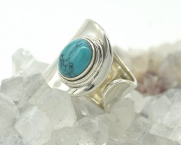 CERTIFIED TURQUOISE  RING 925 STERLING SILVER NATURAL GEMSTONE JE1062