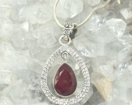 CERTIFIED RUBY  PENDANT 925 STERLING SILVER NATURAL GEMSTONE JE1063