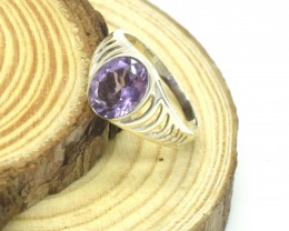 CERTIFIED AMETHYST RING 925 STERLING SILVER NATURAL GEMSTONE JE1065