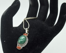CERTIFIED TURQUOISE  PENDANT 925 STERLING SILVER NATURAL GEMSTONE JE1069