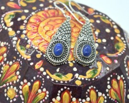 CERTIFIED LAPIS LAZULI EARRINGS 925 STERLING SILVER NATURAL GEMSTONE JE1073