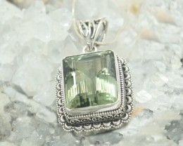 CERTIFIED PENDANT NATURAL GREEN QUARTZ 925 STERLING SILVER JE1075