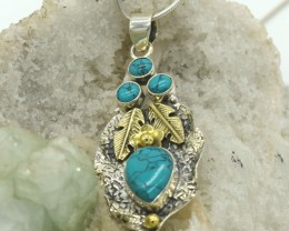 CERTIFIED PENDANT NATURAL TURQUOISE 925 STERLING SILVER JE1079