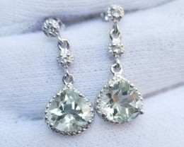 CERTIFIED EARRINGS NATURAL GREEN QUARTZ   925 STERLING SILVER JE1095