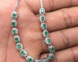 (RBA) Exquisite Nat 45.8tcw. Emerald And CZ Bracelet