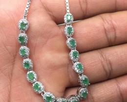 (A8) Exquisite Nat 45.8tcw. Emerald And CZ Bracelet