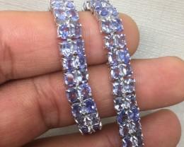 (A12) Georgous Nat 92.7tcw. Top Rich Violet Blue Tanzanite Bracelet