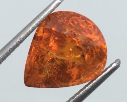 6.27 Carat Spessartite Pear - Great Fire and Flash - Huge !
