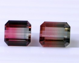 2 Pcs 8.50 Ct Natural - Unheated Bi Color Tourmaline Gemstone