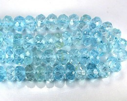 89.06Cts South American Sky Blue Topaz Rondelle Beads 35cm