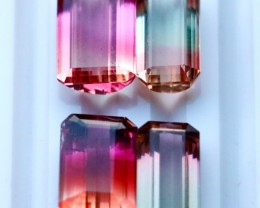 4 Pcs 24.70 Ct Natural - Unheated Bi Color Tourmaline Gemstone