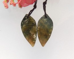 24ct Natural moss agate leaf shape earing beads  (18091529)