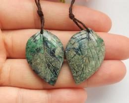 41ct Natural chrysocolla earring beads leaf shape   (18091542)