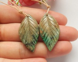39.5ct Natural chrysocolla earring beads leaf shape (18091520)