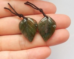 20.5ct Natural moss agate carved leaf earring beads  (18091523)