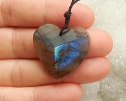 29ct Natural labradorite  pendant  bead heart shape (18091543)