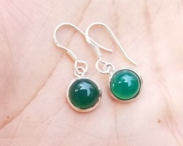 STERLING SILVER EARRINGS WITH GREEN ONYX GEMSTONE A++Grade Natural+Untreate