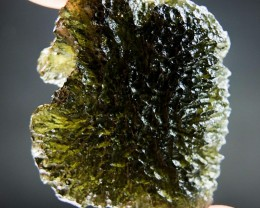Shiny Moldavite with Brown green color CERTIFIED