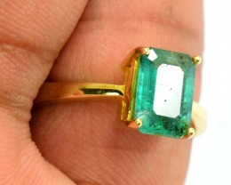 1.95 ~ Carat of Swat emerald in Ladies Gold Ring  $
