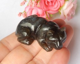 128ct Natural labradorite carved tiger cabochon bead (18091526)