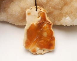 76ct Natural agate pendant carved butterfly  bead (18091555)