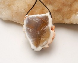 136.5ct Natural agate pendant carved butterfly   bead (18091557)